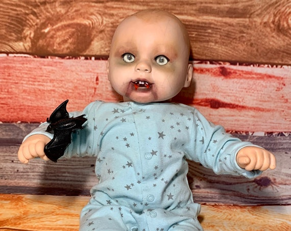 Original Large Vampire Baby Custom Fangs Dressed For Bed Glow In The Dark Eyes Holding A Toy Bat Undead Biohazard Baby