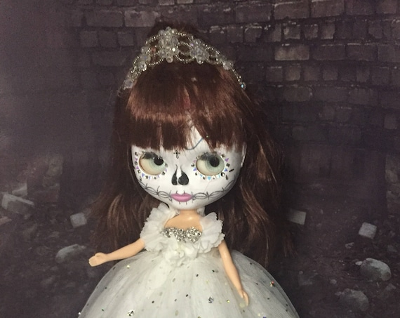 Sugar Skull Blythe Style Doll  Bride Changing Eye Color Day Of The Dead Wedding Dia De Los Muertos Couture Mexican Undead Biohazard Baby