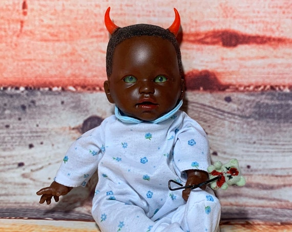 Original Undead AA Berenguer Devil Spawn With Mini Dead Biohazard Bear Dressed Bed Horned Biohazard Baby