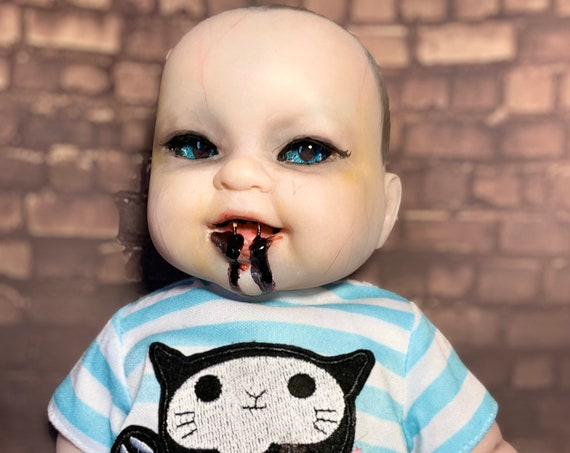 Original Undead Just Fed Dressed For Bed Vampire Infant With Fangs Custom Eyes Berenguer Biohazard Baby