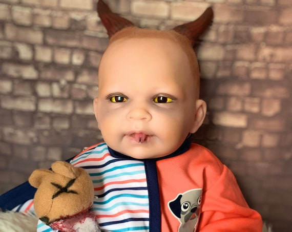 Original Serpent Tongue Custom Optical Illusion Eyes Horned Devil Dressed For Bed With Mini Pitch Fork Plush Biohazard Baby