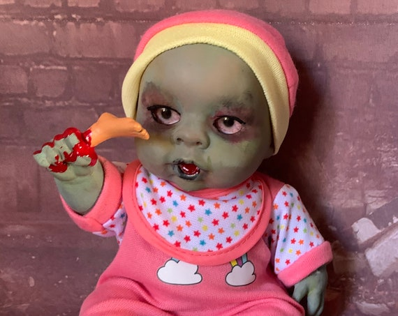 Original Undead Dressed For Bed Custom Eyes Zombie With Foot Snack Biohazard Baby