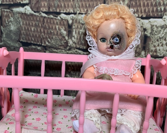 Original Undead Cannibal Musical Rocking Doll Cradle Vintage Set Mutated Infant With Decapitated Rotting Dolly Biohazard Baby
