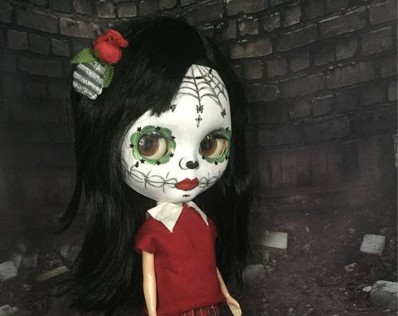 Sugar Skull Blythe Style Doll Day Of The Dead Zombie Dia De Los Muertos Undead Mexican Original Biohazard Baby