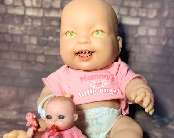 Original Cannibal Berenguer Custom Eyes Sharp Teeth Mini Cannibal Doll And Piggy Biohazard Baby