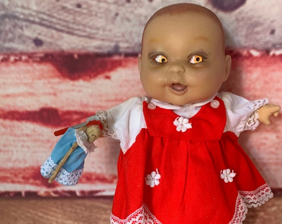 Original Undead Cannibal Child With Shifty Side Eye Berenguer Brand Doll With Mini Skeleton Doll Struck By Melee Weapon Biohazard Baby