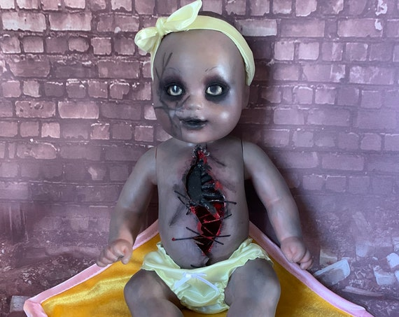 Original Undead Gutted Head Trauma Zombie Doll With Custom Eyes Stomach Stitches Biohazard Baby