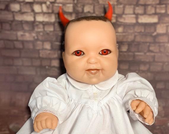 Original Devil Spawn Berenguer Brand Full Vinyl Body Custom Red Eyes Dressed For Bed Horned Biohazard Baby