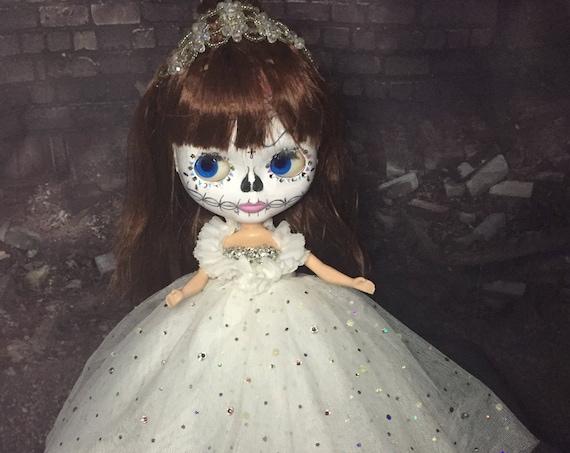 Sugar Skull Blythe Style Doll  Bride Changing Eye Color Day Of The Dead Wedding Dia De Los Muertos Couture Mexican Undead Biohazard Baby