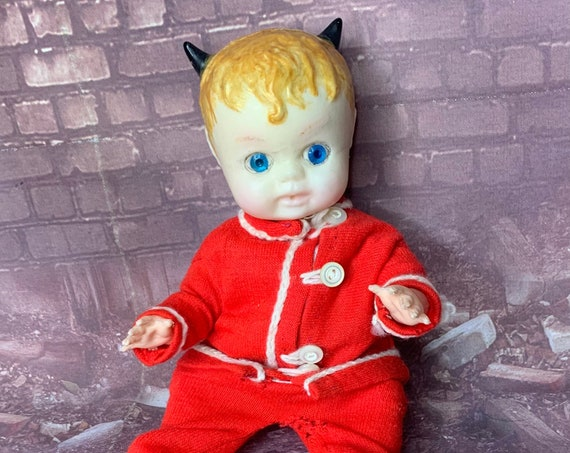 Original Blonde Hair Blue Eyed Devil Custom Black Horns Vintage Plastic Babydoll Little Diablo Biohazard Baby