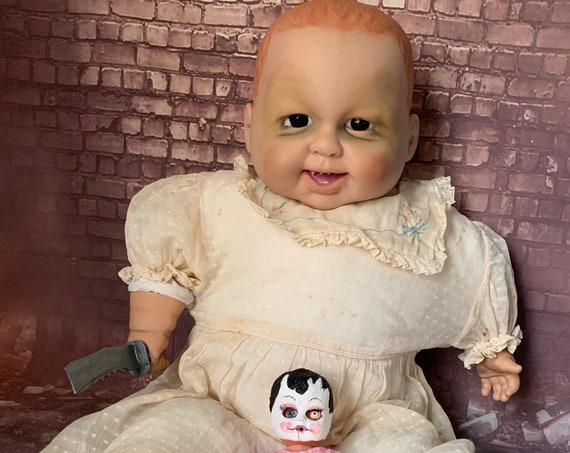 Original Large Country Cannibal Serial Killer With Mini Disfigured BiohazardBaby Pin Up Doll Mask Dull Weapon Wielding Biohazard Baby