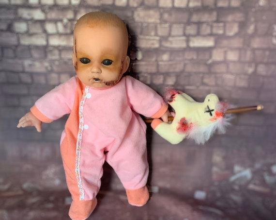 Original Undead Feral Cannibal Dressed For Bed With Skewered Plush Toy Berenguer Brand Biohazard Baby