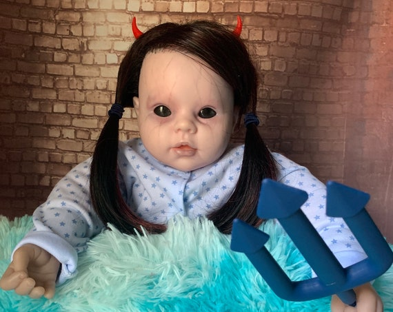 Original Devil's Daughter Undead Forked Baby Rattle Custom Eyes Rooted Hair Custom Horns Dressed For Bed Biohazard Baby