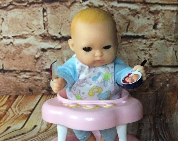 Mini Black Eyed Evil Undead Doll With Tiny Cannibal Cooking Toy Set Biohazard Baby