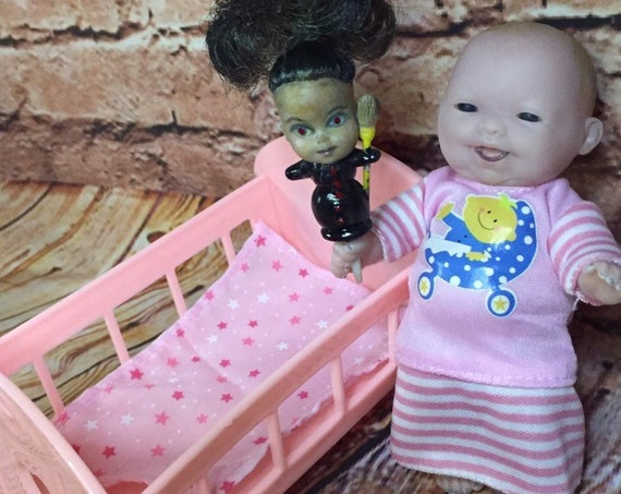 Mini Black Eyed Doll Set Crib Undead Berenguer With Mini Witch Doll Biohazard Baby