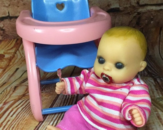 Mini Black Eyed Evil Cannibal Doll Set With High Chair And Plate Of Food Biohazard Baby