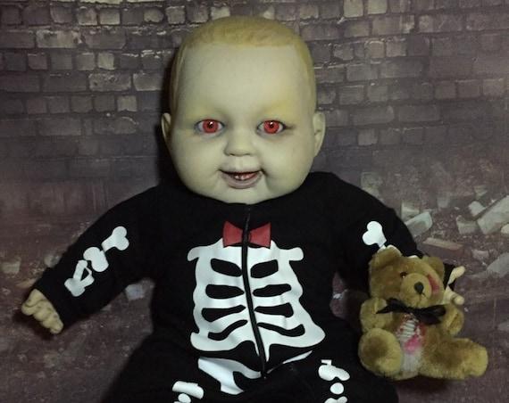 Original Undead Large Doll Custom Evil Eyes Sharp Bottom Teeth With Gutted Teddy Biohazard Baby