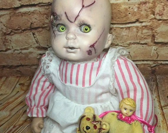 Original Undead Bone Skull Brain Exposed Bleeding Face With Mini Furry Doll Custom Eyes Zombie Biohazard Baby