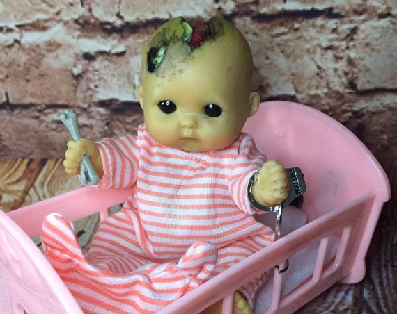 Black Eyed Undead Cannibal Chained To Crib Evil Cracked Skull Bone Brain Exposed Mini Biohazard Baby Doll Set