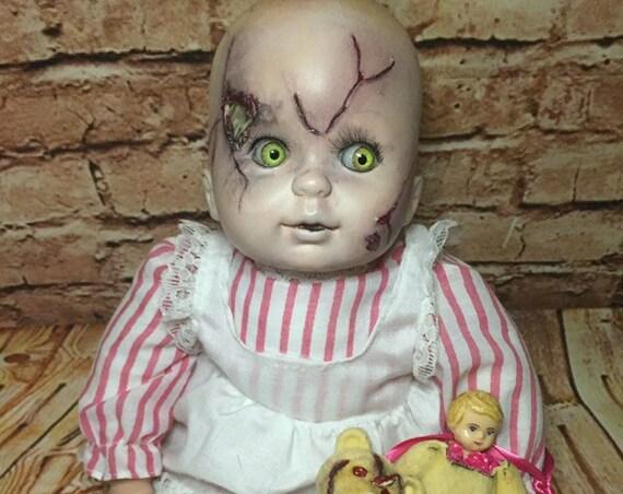 Original Undead Bone Skull Brain Exposed Bleeding Face With Mini Furry Doll Custom Eyes Zombie Biohazard Baby