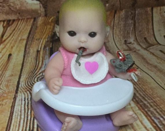 Original Mini Undead Black Eyed Rat Eating Doll Set Silver Spoon Berenguer Zombie Biohazard Baby