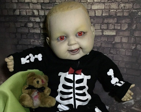 Original Undead Large Doll Custom Evil Eyes Sharp Bottom Teeth With Gutted Teddy Biohazard Baby