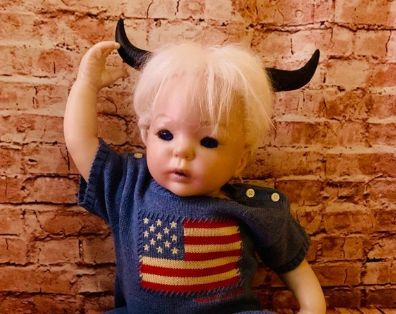 Reborn Original White Hair Beautiful Blue Eyed Devilishly Horned Biohazard Baby Free World Wide Shipping For A Limited Time Only