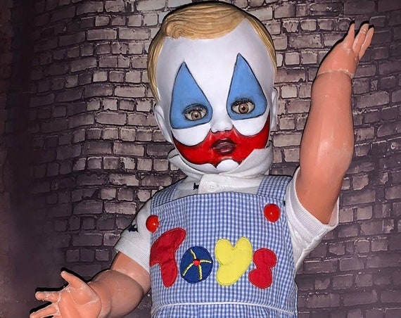 Toddler John Wayne Gacy Face Painted Pogo The Clown Play Date Dressed Serial Killer Culture Death Row Killer Clown Original Biohazard Baby