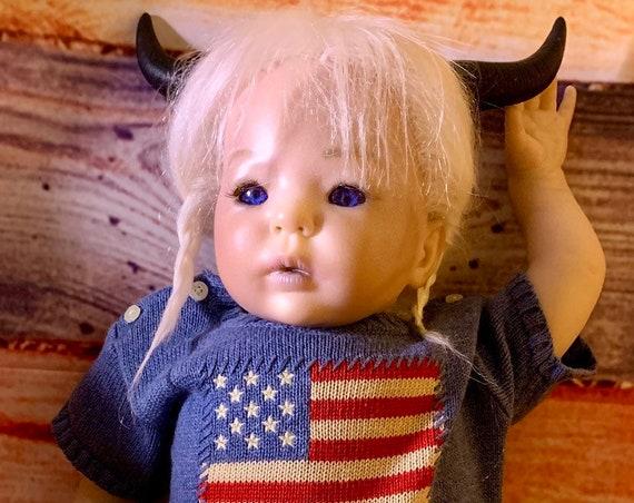 Reborn Original White Hair Beautiful Blue Eyed Devilishly Horned Biohazard Baby
