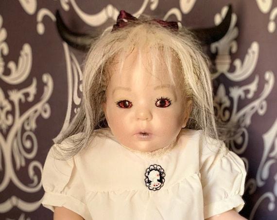 Original Reborn Undead Bird Eating Finger Food Photo Ready Custom Eyes Devilish Spooky Horned Zombie Biohazard Baby