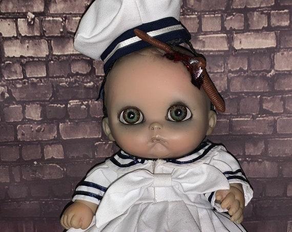 Original Undead Berenguer Hooked Zombie With Worm Dressed Sailor Custom Glow In The Dark Eyes Biohazard Baby