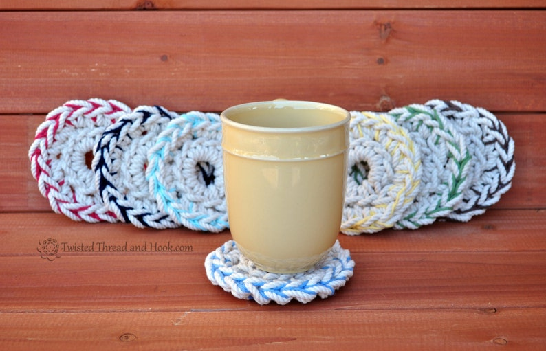 2 Color Rope Coasters  Natural Coasters  Nautical Coasters  image 0