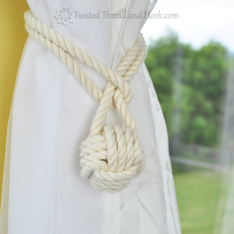 Single Small Curtain Tieback  Cotton Rope image 0