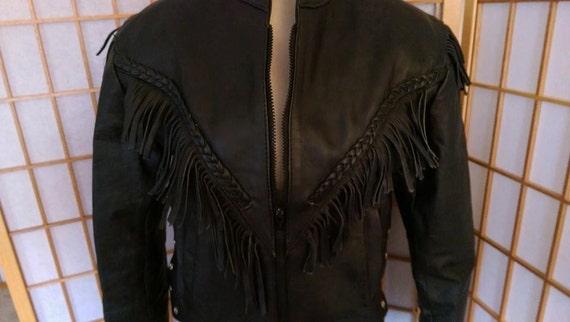 Black Fringed Biker Leather Jacket from Maryland L