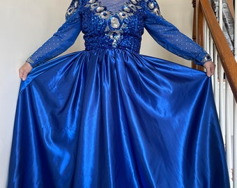80s Elegant Royal Blue Satin Gown with Sequins and Beads Sheer Neckline and Long Sleeves in Large Size