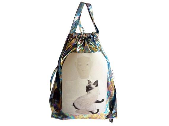 282e19302bd1 Siamese Cat Holographic drawstring backpack / metallic holograph / berlin /  artistic /new york / paris / gym / berghain club / rucksack