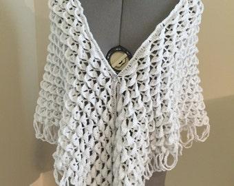 Shimmery White  Bridal Shawl