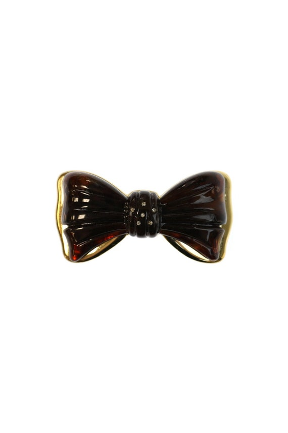 Vintage Italian Bow Shaped Barrette With Crystals