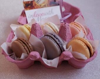 Six delicious handmade Macarons