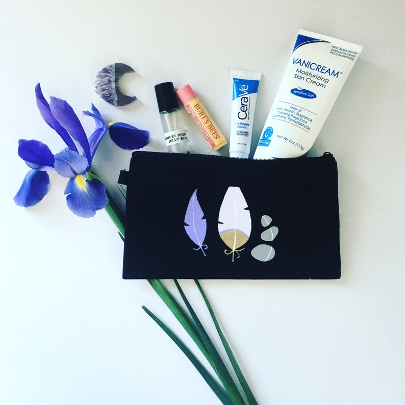 Small Black Pencil Case travel bullet journaling for back to school Purple Feathers and Lucky Rocks