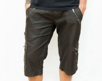 Black Mens Shorts - Alternative Clothing - Shorts with Zippers - EDM Rave Wear - Trance Clothing for Men - Clubwear - The Dude Shorts