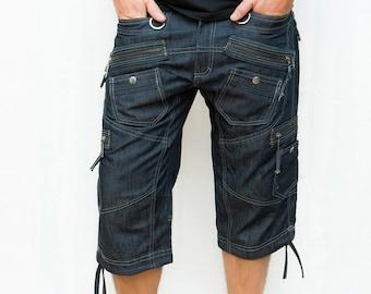 Mens Shorts - 3/4 Shorts - Alternative Clothing - EDM Rave Wear - Trance Clothing for Men - Clubwear for Men - Manga Shorts