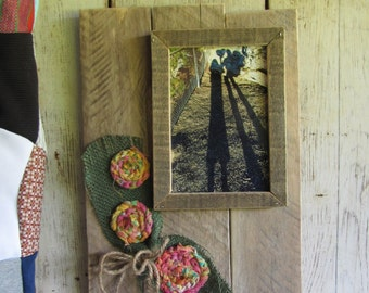 A 5 x 7 Handmade Rustic Picture Frame, Country floral embellished