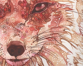 Rust Fox 5 x 7 print of Fox watercolour painting in red rusty orange vibrant colour painted