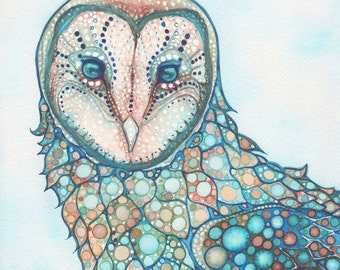 Dreamweaver Owl 8.5 x 11 print of detailed watercolour artwork in turquoise rust earth tone quilted patterns, moon spheres masked barn snow