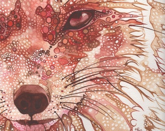 Rust FOX 8.5 x 11 print of watercolor painting artwork in rust red earth tones, wall decor face portrait