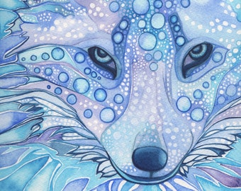 ARCTIC FOX 8.5 x 11 print of detailed watercolour in whimsical surreal and psychedelic blues