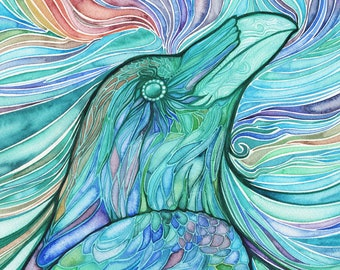 Glass Raven - watercolour print of beautiful multicolored bird, stained glass whimsical brilliant turquoise teal aqua watercolors