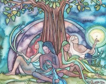 Spirit Weavers - print of beautiful watercolour, tree of life sisters gathering galaxy universe sacred divine feminine woman unity together