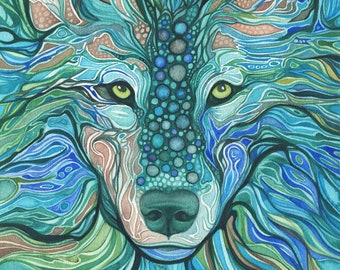 Water Wolf  - print of watercolour painting, sea wolf animal spirit totem dragon teal turquoise blue green aqua, magical watercolor portrait